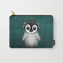 Cute Baby Penguin Dj Wearing Headphones on Blue Carry-All Pouch