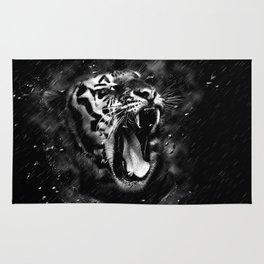 Wild Tiger Portrait Black White Animal Rug