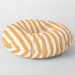Orange and White Cabana Stripes Palm Beach Preppy Floor Pillow