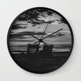 Sunset North Sea Camping Chairs Denmark Bjerregard Beach 9 bw Wall Clock