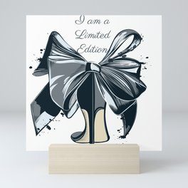 Fashion illustration with high heel shoe and bow. I am limited edition Mini Art Print