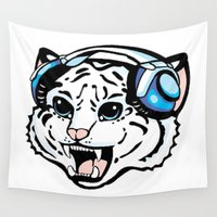 records Wall Tapestries featuring White Noise Records White Tiger by KittRen