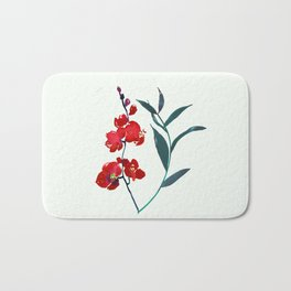 Coral red orchid navy ocean blue foliage simple watercolor design Bath Mat