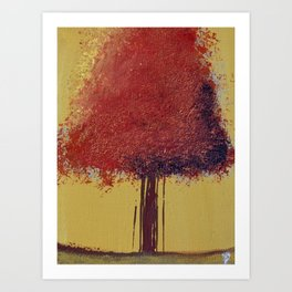 Red Autumn Tree Painting Art Print