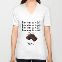 chocolate V-neck T-shirts featuring Chocolate by Thomsky