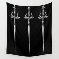 sword Wall Tapestries featuring Odin's sword by Jessica Bowman Illustrates