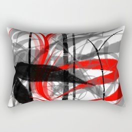 red black grey silver white bamboo abstract digital painting Rectangular Pillow