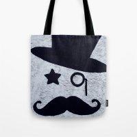 gentleman Tote Bags featuring Gentleman by Le Arcara