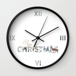 Merry Christmas Animals in the Snow Wall Clock