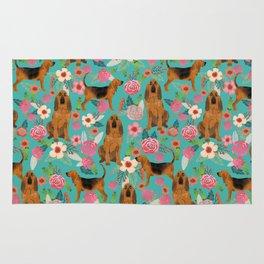 Bloodhound floral dog breed dog pattern pet friendly pet portraits custom dog gifts mint Rug