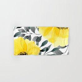 Big yellow watercolor flowers Hand & Bath Towel