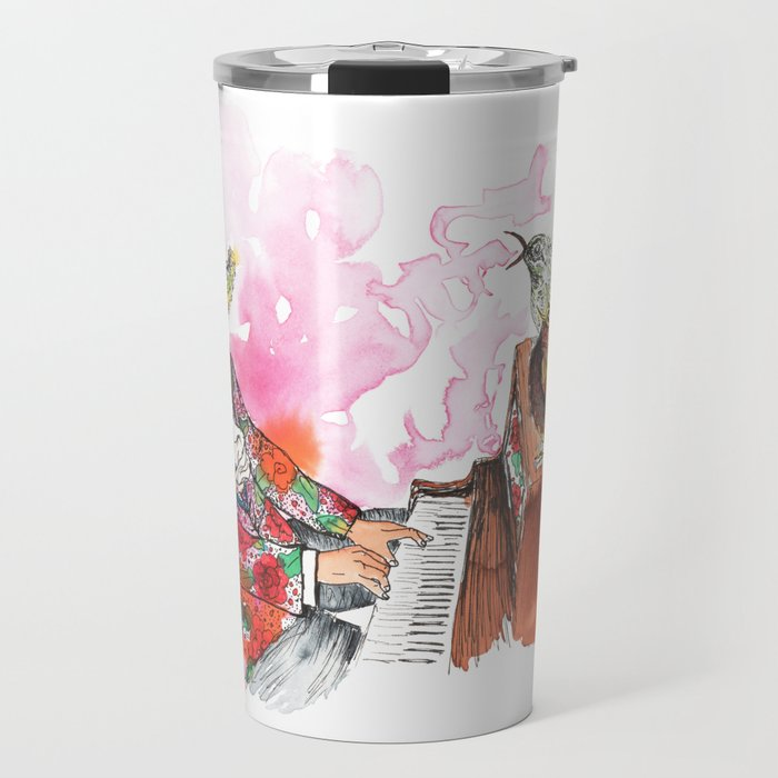 Piano Playing Alligator in a Floral Blazer, with Backup Singing Birds Travel Mug