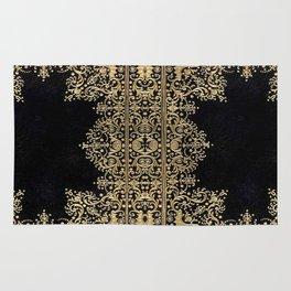 Black and Gold Filigree Rug