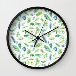 Tropical and beach palm leaves collection. Botany palm leaves set and summer jungle watercolor palm. Wall Clock