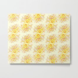 Faded Flowers Pattern Metal Print