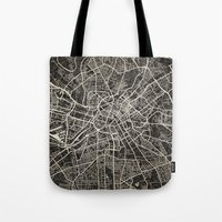 manchester Tote Bags featuring manchester map ink lines by NJ-Illustrations