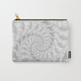 Mother of Pearl Beaded Spiral Fractal Carry-All Pouch