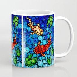 Pure Koi Joi - Mosaic Fish Art Painting by Sharon Cummings Coffee Mug