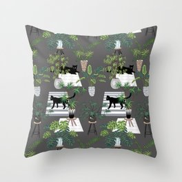 cats in the interior dark pattern Throw Pillow