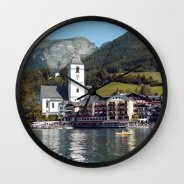 Church with Mountains and lake I St. Wolfgang, Austria I Fine art I Photography Wall Clock