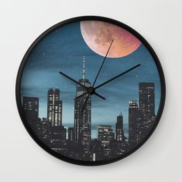 New York City Blood Moon Skyline Wall Clock