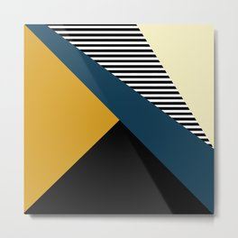 Striped, Abstract, Geometric Art, Blue, Yellow and Black Metal Print
