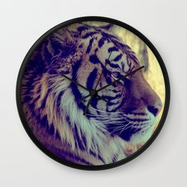 Tiger Face Aside Special Light Effect Vintage Wall Clock