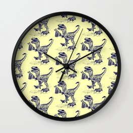 Tipsy Velociraptor with Beer Pattern Wall Clock