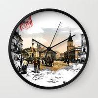 poland Wall Clocks featuring Poland, Warsaw 1890-1900 by viva la revolucion