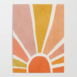 Sun, Mid century modern kids wall art, Nursery room Poster