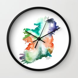 Ireland Map Watercolor Painting Wall Clock