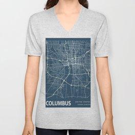 Columbus Blueprint Street Map, Columbus Colour Map Prints Unisex V-Neck