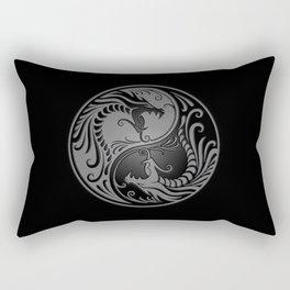 Gray and Black Yin Yang Dragons Rectangular Pillow