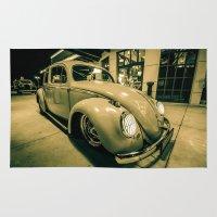 volkswagen Area & Throw Rugs featuring 1955 VOLKSWAGEN EURO BEETLE by Aaron Joslin Photography