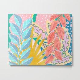 Modern Jungle Plants - Bright Pastels Metal Print