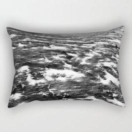 Snow on Black Sand Beach Rectangular Pillow