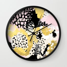 Simone - abstract painting gold foil trendy hipster pastel pink modern trendy colors decor college Wall Clock