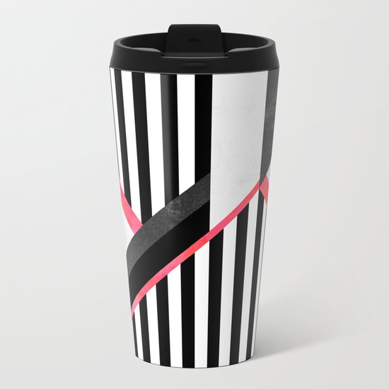 Stripe Combination / Pink Metal Travel Mug