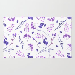 Violet lilac hand painted watercolor berries floral Rug