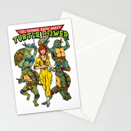 Classic Leo, Donnie, Raph, Mikey, and April O'Neil - Turtle Power! Stationery Cards