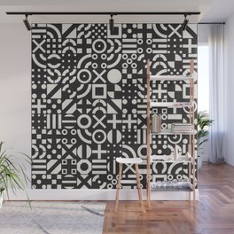 Black and White Irregular Geometric Pattern Print Design Wall Mural