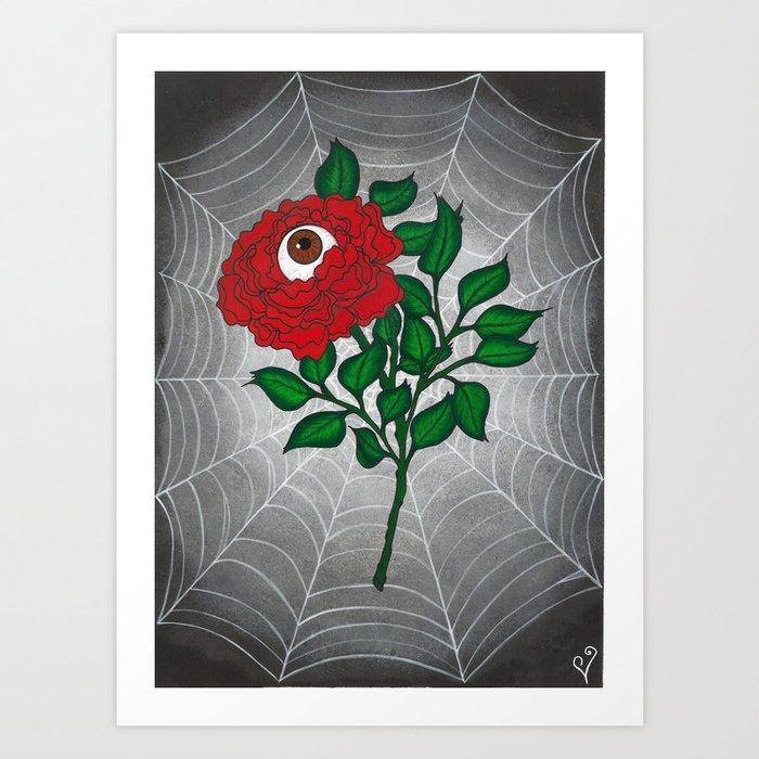 Caught -Eyeball Flower Art Print