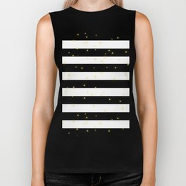 Black and White Stripes with Golden Dots Biker Tank
