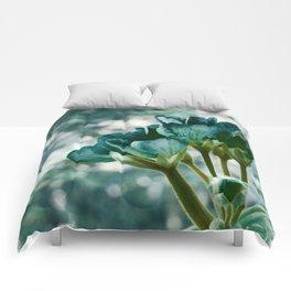 Teal Green Flowers Comforters
