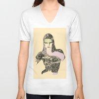 lara croft V-neck T-shirts featuring Lara by hyperpattern