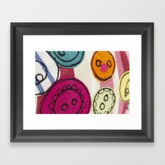 Embroidered Buttons Pink Framed Art Print