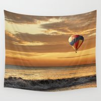 hot air balloon Wall Tapestries featuring Hot Air Balloon by Imagevixen