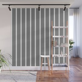 Vertical Lines (White/Gray) Wall Mural