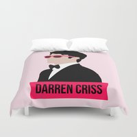 darren criss Duvet Covers featuring Darren Criss with pink shades! by byebyesally