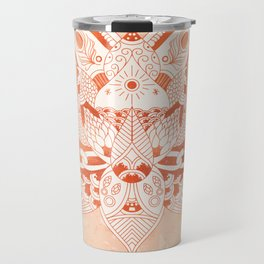 Happiness Mandala Metallic Rose Gold Beige Travel Mug